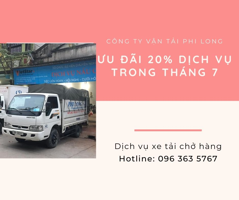 Dịch vụ taxi tải giá rẻ Phi Long tại xã Thư Phú